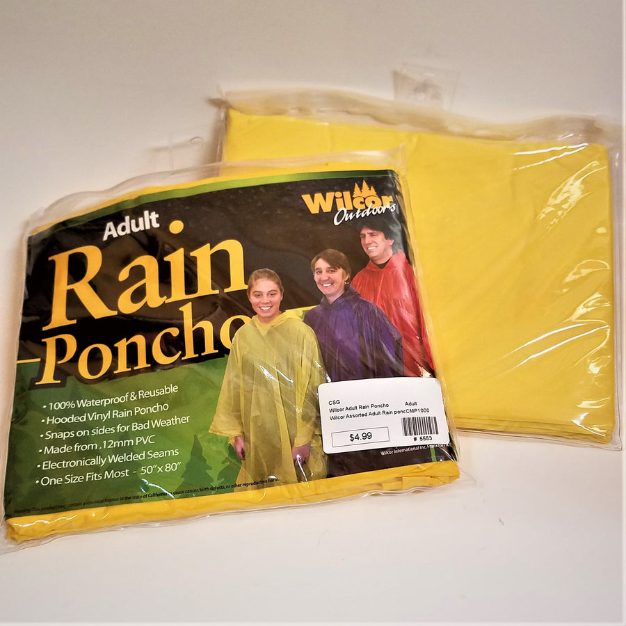 "Front and back of yellow rain poncho packaging--Adult 100% Waterproof & Reusable; Hooded Vinyl Rain Poncho, Snaps on sides for Bad Weather, Made from .12mm PVC, electronically welded seams, one size fits most--50"" x 80"""