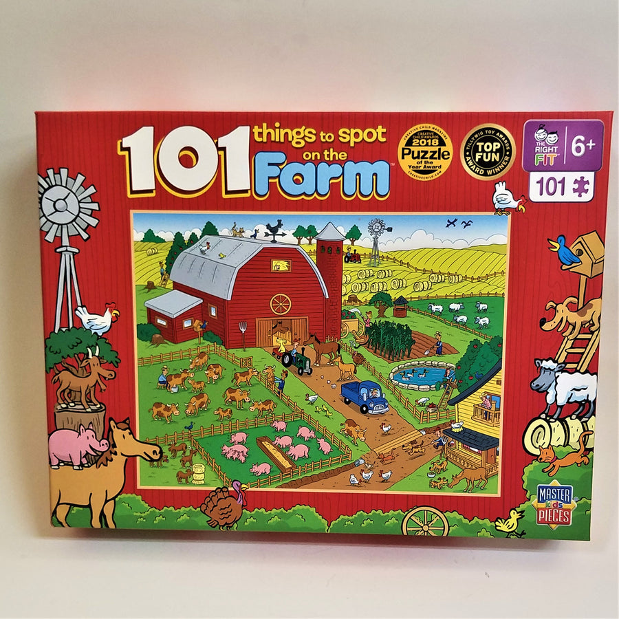 Puzzle cover of 101 things to spot on the farm with red border and a red barn surrounded by  colorful fields and farm animals.