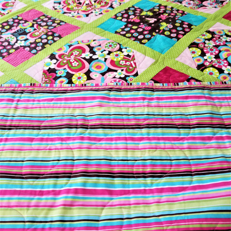 Reversible Butterfly Twin-Size Bed Quilt