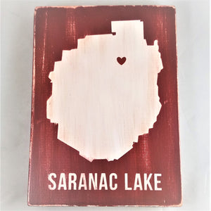 Saranac Lake NY Wooden Sign