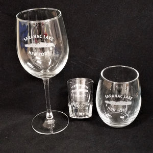Engraved Saranac Lake Glassware