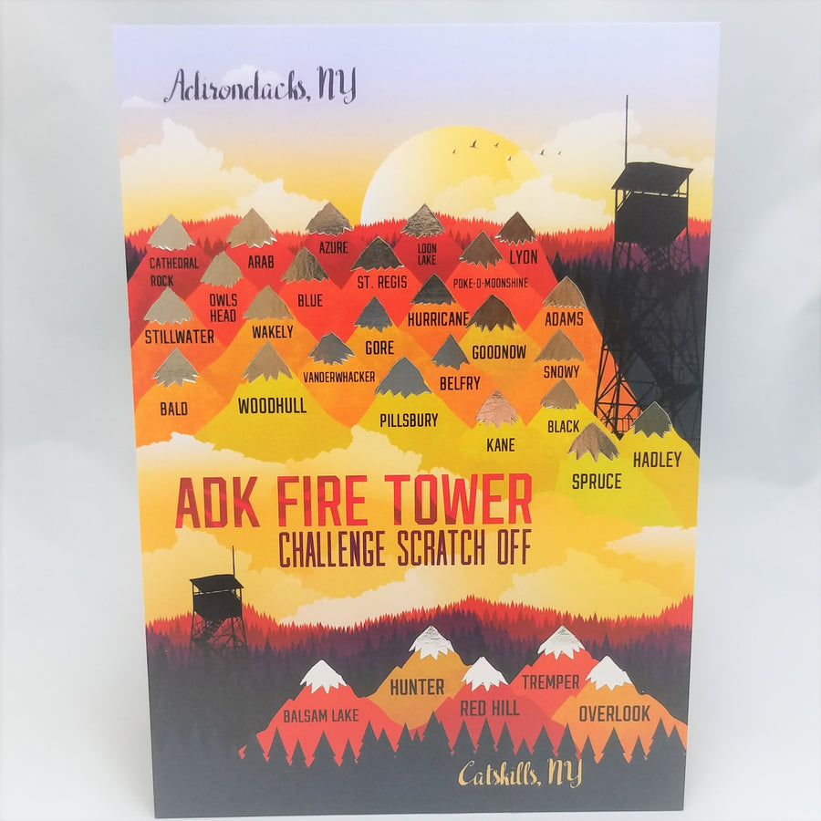 Red, orange and yellow pyramids topped with gold peaks representing Adirondack Fire Towers and whit peaks on the Catskill Fire Towers with a black illustration of a fire tower on the upper right side of the card