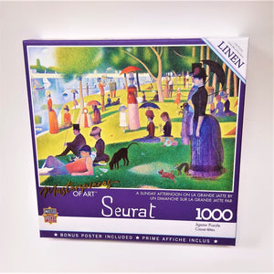 "Puzzle box cover with purple and white outline around  the print of Seurat's ""A Sunday Afternoon on the Island of La Grande Jatte.""  White text describes product features."