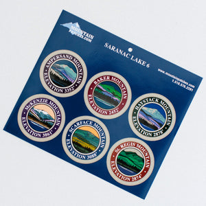 Six decals representing the 6er mountains of Saranac Lake