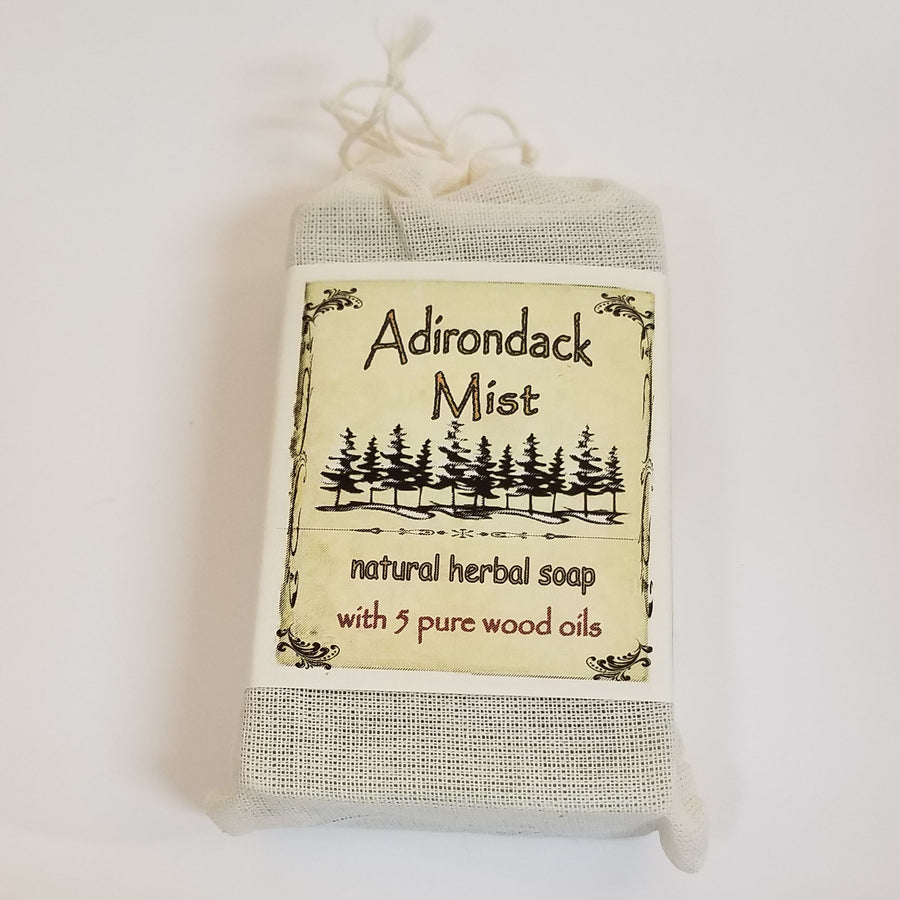 Faux-canvas bag of Adirondack Mist, natural herbal soap with 5 pure wood oils