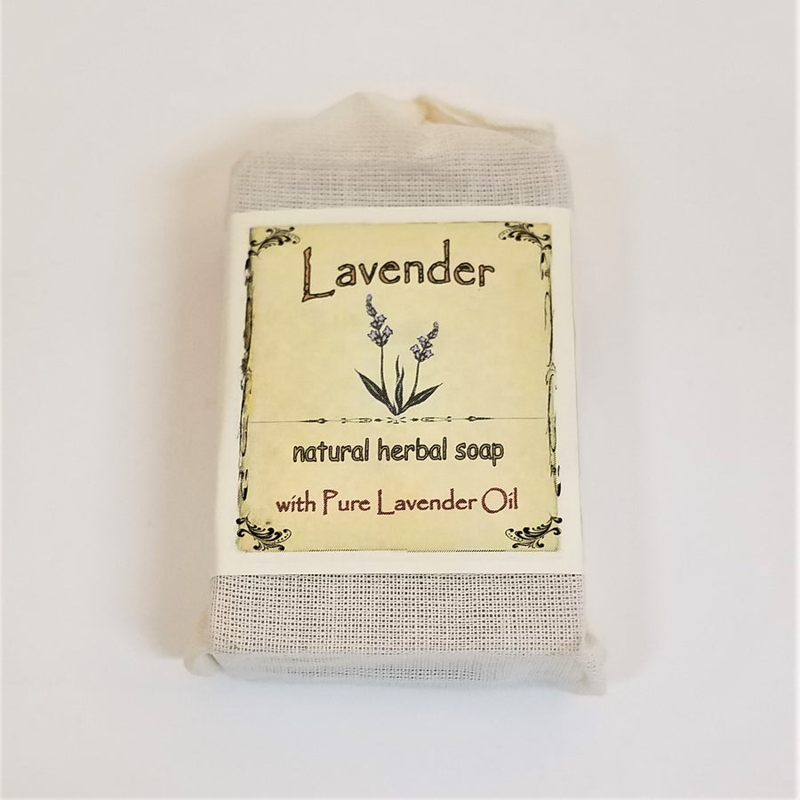 Faux-canvas bag of Lavendar, natural herbal soap with pure lavendar oil