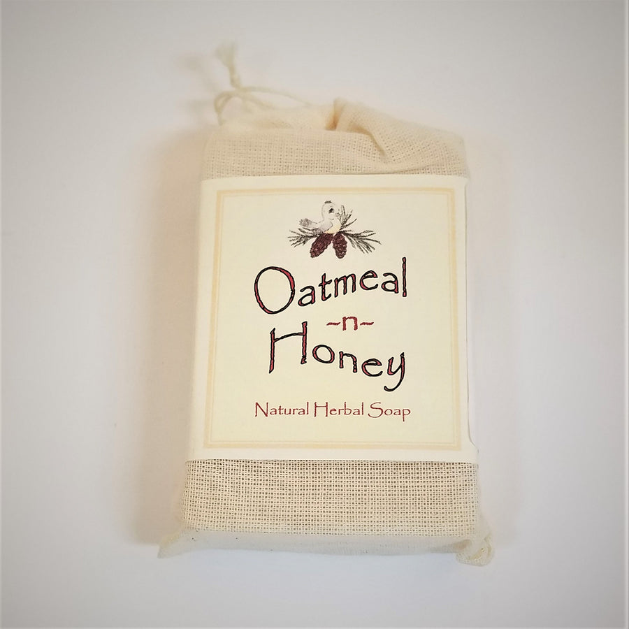 Faux-canvas bag of Oatmeal n Honey, natural herbal soap
