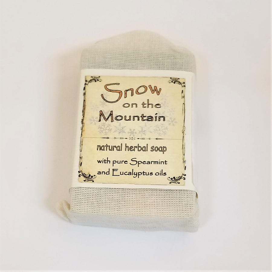 Faux-canvas bag of Snow on the Mountain, natural herbal soap with pure spearmint and eucalyptus oils