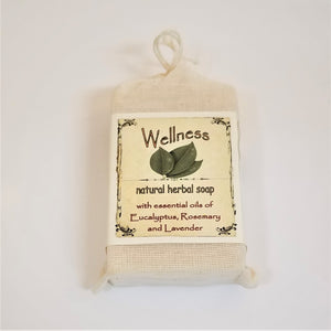 Faux-canvas bag of Wellness, natural herbal soap with essential oils of eucalyptus. rosemary and lavendar