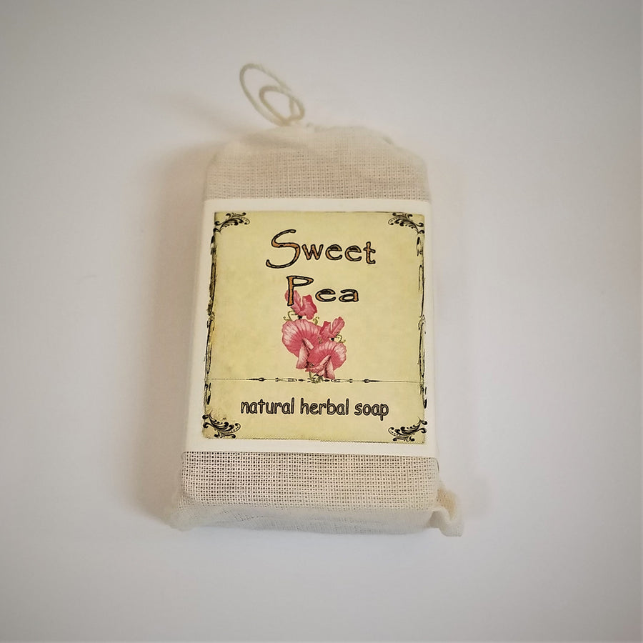 Faux-canvas bag of Sweet Pea, natural herbal soap