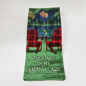 Front flat view of The Lake Is My Happy Place tea towel featuring plaid Adirondack chairs.
