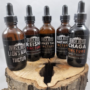 5 brown tinted glass bottles of Birch boy tinctures set on a cut log. Left to right: Lion's Main, Reishi, Turkey Tail, Maitake, Chaga