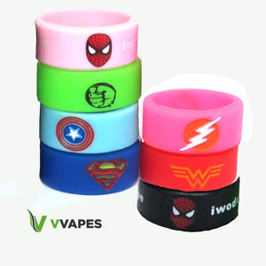Cool Silicone Vape Bands / Rings UK Gift Vaping Band Super Hero Black Pink Blue
