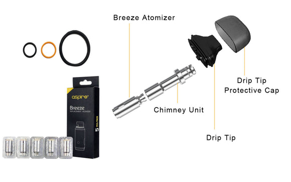 Aspire Breeze Seals / O-Rings / Drip tip / Chimney / Coils / Atomizers / Parts