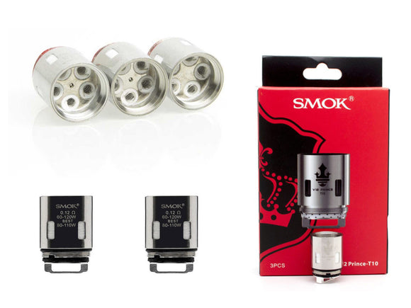 SMOK TFV12 PRINCE T10 Coils Atomizers Burners at 60w - 120w Authenic / Genuine