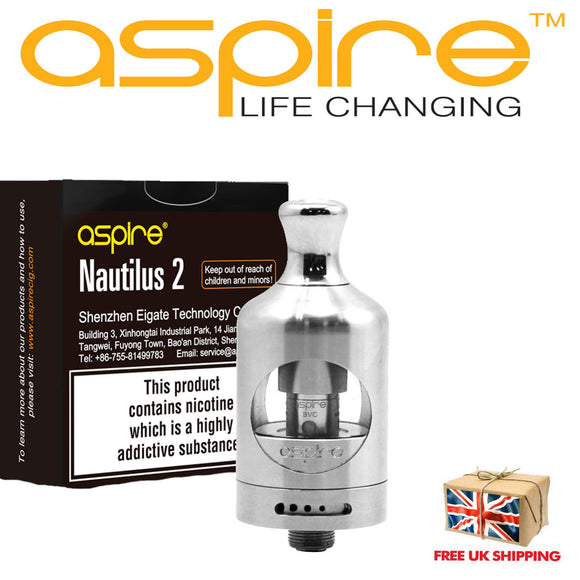 Aspire  Nautilus  2 Tank 100% Authentic Code stainless steel silver atomizer