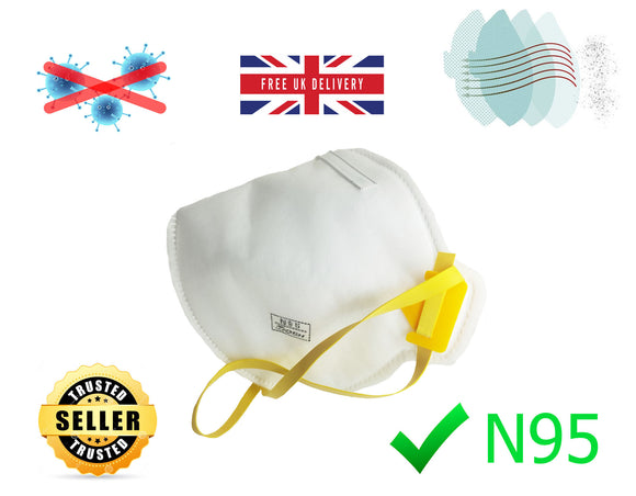 Buy N95 Face Mask for Virus Coronavirus Covid-19 Mouth Nose Protection High Quality - Comfortable - - Free Postage - UK Only - eBay