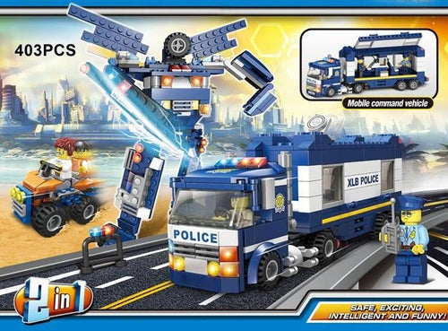 Police Mobile Command Centre & Quadbike or Transformer Robot - Building Block Set