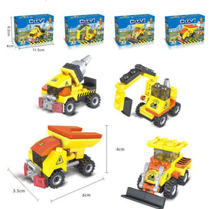 Construction Vehicles - 3 in 1 - Building Block Set