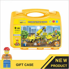 Load image into Gallery viewer, Crane & Water Jet Truck Construction Building Block Set in Case