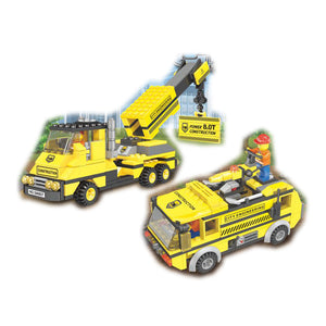 Crane & Water Jet Truck Construction Building Block Set in Case