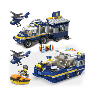 Police Force, Boat & Car, Building Block Set