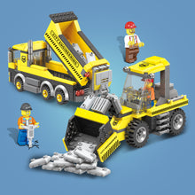 Load image into Gallery viewer, Bulldozer & Tipping Dump Truck Construction Building Block Set
