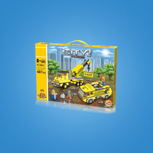 Crane & Water Truck Construction Series Building Block Set