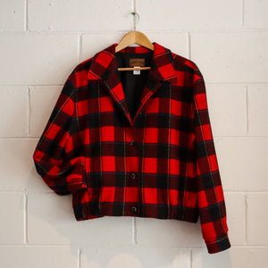 PENDLETON RED TARTAN BOMBER JACKET LARGE