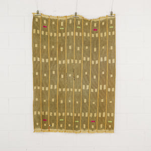 WOVEN YELLOW CLOTH WITH NAIVE STITCHING