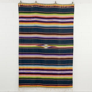 BLUE SALTILLO SERAPE BLANKET FROM MEXICO