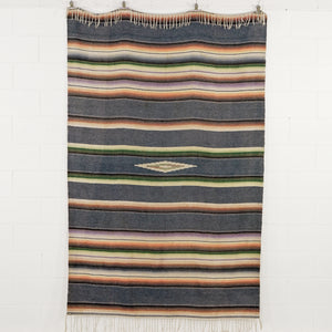 GREY BLUE SALTILLO SERAP MEXICAN BLANKET