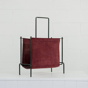 SUEDE AND STEEL MAGAZINE RACK