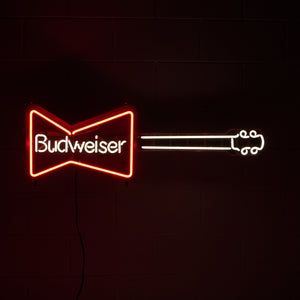 RED BUDWEISER NEON SIGN IN GUITAR SHAPE