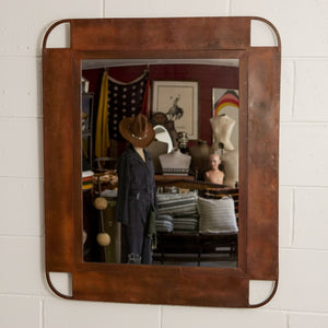 RUSTED METAL FRAMED MIRROR