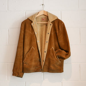SUEDE AND FAUX SHEEP LINED JACKET L