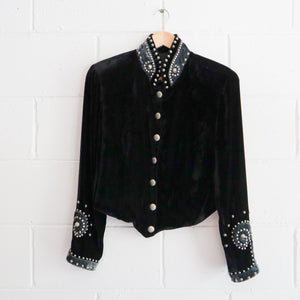 VELVET STUDDED CROPPED JACKET