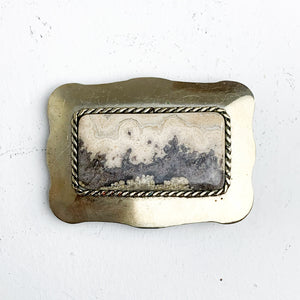 SILVER AND STONE BELT BUCKLE