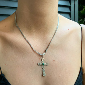 FLAT SILVER CHAIN WITH CROSS AND MALACHITE STONE