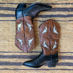 WESTERN LEATHER INLAY TONY LAMA BOOTS SIZE 6.5