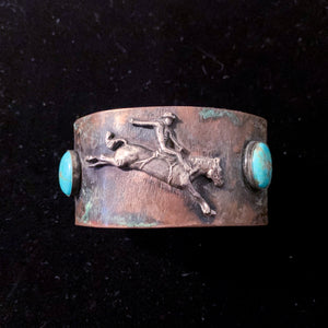 BUCKAROO COPPER CUFF WITH TURQUOISE