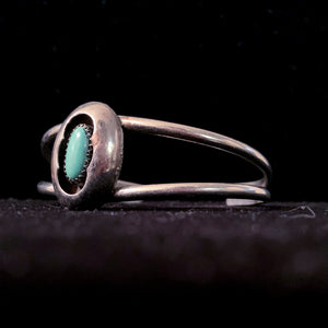 SILVER CUFF WITH TURQUOISE BEAR PAW DESIGN