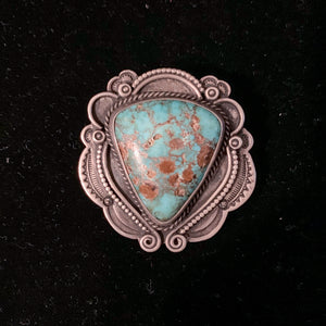 SILVER BROACH WITH LARGE TURQUOISE STONE