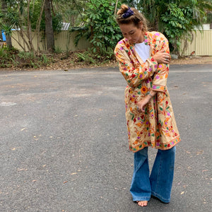EMBROIDERED SILK INDIAN DUSTER JACKET
