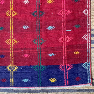 RED TURKISH RUNNER KILIM WITH MOTIFS