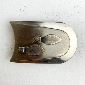 SILVER FOOTPRINTS BELT BUCKLE