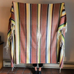 SALTILLO SERAPE IN WASHED EARTH RED