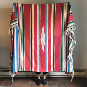 SALTILLO SERAPE IN DARK RED