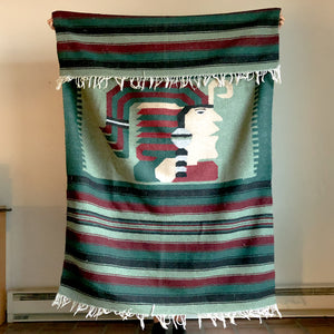 WOOLLEN BLANKET WITH NATIVE AMERICAN MOTIF