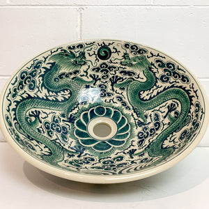WASH BASIN WITH EMERALD DRAGONS